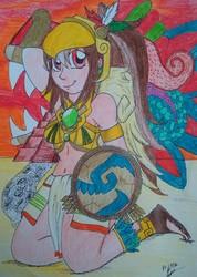 Size: 2614x3664   Tagged: safe, artist:lynathepony, oc, oc:tailcoatl, human, armpits, aztec, fantasy class, humanized, humanized oc, tailcoatl, warrior