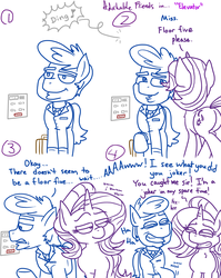 Size: 1280x1611 | Tagged: adorkable, adorkable friends, artist:adorkabletwilightandfriends, comic, comic:adorkable twilight and friends, cute, dad joke, dork, earth pony, elevator, humor, lineart, oc, oc:billiam, plot, pony, safe, slice of life, starlight glimmer, unicorn