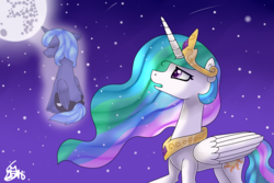 Size: 2500x1666   Tagged: safe, artist:spokenmind93, princess celestia, princess luna, alicorn, pony, lullaby for a princess, both cutie marks, female, filly, full moon, jewelry, mare in the moon, moon, night, redraw, regalia, signature, stars, woona, younger