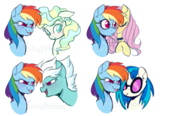 Size: 900x600 | Tagged: artist:lullabyprince, bust, choker, colored pupils, dj pon-3, female, fleetdash, fleetfoot, floppy ears, flutterdash, fluttershy, lesbian, mare, open mouth, pegasus, pony, portrait, rainbow dash, safe, shipping, simple background, solo, transparent background, unicorn, vapordash, vapor trail, vinyldash, vinyl scratch