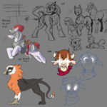 Size: 2500x2500 | Tagged: safe, artist:invertigo, arizona cow, oc, oc:galley, oc:jellybean, oc:naziha, oc:red rampart, oc:yodi, bat pony, cow, earth pony, griffon, horse, pony, unicorn, them's fightin' herds, armor, bat pony oc, community related, dock, doodles, glowing eyes, knight, leonine tail, sketch