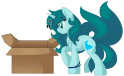 Size: 2349x1438 | Tagged: artist:pearlyiridescence, box, bracelet, jewelry, kitsune, multiple tails, oc, oc:ambient waves, oc only, pony, question mark, safe, simple background, solo, transparent background, unicorn