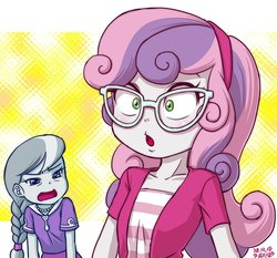 Size: 800x747   Tagged: safe, artist:uotapo, silver spoon, sweetie belle, equestria girls, accessory theft, can't see shit, clothes, cute, female, glasses, hairband, jewelry, necklace, shirt, skirt, spoon, squint