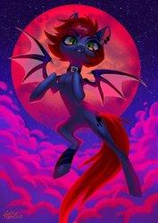 Size: 2894x4093 | Tagged: safe, artist:holivi, oc, oc:swaybat, bat pony, pony, bat pony oc, blood moon, cloud, full moon, moon, solo
