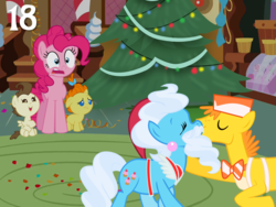 Size: 1024x768 | Tagged: advent calendar, artist:bronybyexception, beard, carrot cake, christmas, christmas tree, cup cake, earth pony, facial hair, fake beard, hat, hearth's warming tree, holiday, i saw mommy kissing santa claus, i saw mommy kissing santa hooves, married couple, married couples doing married things, pegasus, pinkie pie, pony, pound cake, pumpkin cake, safe, santa claus, santa hat, santa hooves, tree, unicorn