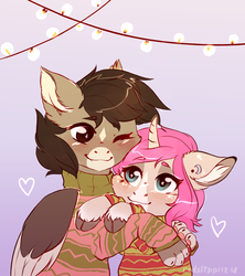 Size: 1020x1148 | Tagged: artist:redslipp, blushing, christmas, christmas lights, classical unicorn, clothes, cloven hooves, couple, cuddling, cute, ear piercing, female, floppy ears, fluffy, happy, heart, holiday, hooves, interspecies, leonine tail, love, male, mare, oc, oc only, oc:tarot, oc x oc, oc:xor, paws, piercing, romantic, safe, shipping, simple background, smiling, snuggling, sparkles, sphinx, sphinx oc, straight, sweater, taror, unicorn, unshorn fetlocks, weapons-grade cute, wings
