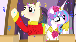 Size: 1146x626 | Tagged: alicorn, artist:xxcutecookieswirlsxx, clothes, older, pegasus, pony, pound cake, poundflurry, princess flurry heart, safe, shipping, straight