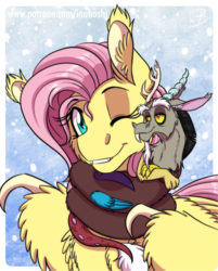 Size: 966x1200 | Tagged: artist:inuhoshi-to-darkpen, cheek fluff, chest fluff, clothes, coils, discord, discoshy, draconequus, duo, ear fluff, female, fluttershy, male, mare, one eye closed, pony, safe, scarf, shipping, straight, wing claws, wing fluff, wink