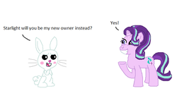 Size: 676x358 | Tagged: angel bunny, angelglimmer, artist:drypea 198, female, interspecies, male, safe, shipping, starbunny, starlight glimmer, straight