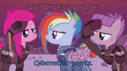 Size: 640x360 | Tagged: alternate hairstyle, alternate timeline, alternate universe, amputee, apinkalypse pie, apocalypse dash, apocalypse maud, caption, cards against humanity, clothes, crystal war timeline, edit, edited screencap, image macro, maud pie, mechanical wing, pinkamena diane pie, pinkie pie, prosthetic limb, prosthetics, rainbow dash, safe, salute, scar, screencap, the cutie re-mark, torn ear, trio