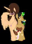 Size: 1786x2500 | Tagged: safe, artist:miniferu, oc, oc only, oc:handy hoofs, oc:shiny smiley, oc:spring beauty, alicorn, pony, unicorn, 2019 community collab, derpibooru community collaboration, family, female, filly, glasses, married, offspring, parent:oc:handy hoofs, parent:oc:spring beauty, parents:oc x oc, parents:springhoofs, simple background, springhoofs, straw, transparent background, umbrella drink, wingding eyes