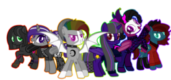 Size: 1280x602 | Tagged: safe, artist:kookiebeatz, artist:meimisuki, oc, oc only, oc:after-party, oc:dusk's light, oc:midnight harvest (ice1517), oc:monochrome rainbow, oc:nightingale (ice1517), oc:quiet sanctuary, alicorn, bat pony, bat pony alicorn, pony, alicorn oc, anklet, bandana, base used, bat pony oc, beanie, blaze (coat marking), boots, bracelet, choker, clothes, cowboy hat, cut, dress, ear piercing, earring, face paint, face tattoo, female, flannel, glasses, goth, group, harlequin, harlequin jester, hat, horn ring, jester, jester hat, jewelry, jumper, makeup, mare, multicolored hair, nose piercing, nose ring, open mouth, piercing, ponytail, rainbow hair, raised hoof, scar, shoes, simple background, smiling, socks, solo, spiked choker, stockings, sweater, tattoo, teeth, thigh highs, transparent background, wall of tags, wristband