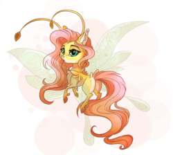Size: 2123x1900 | Tagged: safe, artist:marbola, fluttershy, breezie, breeziefied, cute, female, flutterbreez, looking back, pale belly, shyabetes, solo, species swap