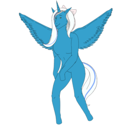 Size: 894x894 | Tagged: dead source, safe, artist:mashedpotatoesisgod, oc, oc only, oc:fleurbelle, alicorn, anthro, simple background, spread wings, white background, wings