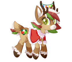 Size: 1400x1200 | Tagged: safe, artist:chibi-ban, oc, oc only, oc:olive (reindeer), deer, reindeer, antlers, christmas, christmas lights, clothes, coat, female, fluffy, holiday, raised hoof, simple background, solo, transparent background, unshorn fetlocks