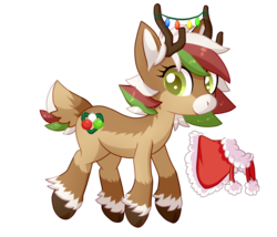 Size: 1400x1200 | Tagged: safe, artist:chibi-ban, oc, oc only, oc:olive (reindeer), deer, reindeer, antlers, christmas, christmas lights, clothes, coat, deer oc, female, fluffy, holiday, raised hoof, simple background, solo, transparent background, unshorn fetlocks