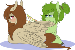Size: 2754x1858 | Tagged: safe, artist:liefsong, oc, oc only, oc:lief, oc:red, hippogriff, pegasus, pony, birds doing bird things, blushing, cute, pouting, preening, scrunch
