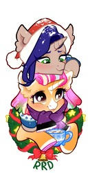 Size: 1007x1920 | Tagged: safe, artist:rrd-artist, oc, oc only, oc:peach donut, pony, unicorn, bell, chocolate, christmas, christmas wreath, clothes, duo, food, hat, holiday, hoof hold, horseshoes, hot chocolate, marshmallow, mug, santa hat, scarf, simple background, snow, sweater, white background, wreath
