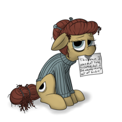 Size: 2000x2000   Tagged: safe, artist:thebathwaterhero, oc, oc:cellophane, earth pony, pony, 2019 community collab, derpibooru community collaboration, clothes, drool, female, mare, paper, sad, sign, simple background, solo, sweater, transparent background