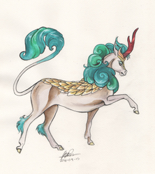 Size: 4385x4945 | Tagged: safe, artist:sagastuff94, rain shine, kirin, sounds of silence, absurd file size, absurd resolution, fangs, female, hoers, profile, realistic anatomy, realistic horse legs, signature, solo, traditional art, watercolor painting