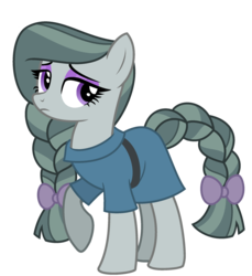 Size: 2103x2298 | Tagged: safe, artist:starryoak, artist:strawberry-spritz, marble pie, earth pony, pony, miracleverse, alternate hairstyle, alternate universe, bow, braid, braided tail, eyeshadow, female, frock coat, hair bow, makeup, mare, raised hoof, simple background, solo, tail bow, transparent background
