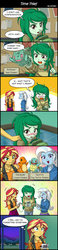 Size: 800x3460 | Tagged: safe, artist:uotapo, sunset shimmer, trixie, wallflower blush, bulbasaur, charmander, squirtle, equestria girls, equestria girls series, forgotten friendship, backpack, bad end, bad ending?, barrette, belt, blushing, canterlot high, classroom, clothes, comic, cute, cutie mark on clothes, denim, dress, embarrassed, female, flustered, freckles, game boy, game console, gamer sunset, geode of empathy, hairclip, hairpin, happy, hoodie, jeans, jewelry, leather, leather vest, magical geodes, necklace, night, oops, open mouth, pants, pendant, playing, plushie, pokémon, skirt, smiling, speech bubble, standing, sweater, thought bubble, toy, vest, video game, you had one job