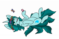 Size: 400x268 | Tagged: safe, artist:cinnerroll, oc, oc:ambient waves, butterfly, pony, flower band, kitsune, multiple tails, simple background, solo, transparent background