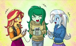 Size: 783x471 | Tagged: safe, artist:uotapo, sunset shimmer, trixie, wallflower blush, equestria girls, equestria girls series, forgotten friendship, barrette, belt, blushing, clothes, cropped, cute, cutie mark on clothes, denim, diatrixes, dress, female, freckles, game boy, game boy color, game console, geode of empathy, hairclip, hairpin, happy, hoodie, jeans, jewelry, leather, leather vest, magical geodes, necklace, nintendo, open mouth, pants, pendant, playing, shimmerbetes, skirt, smiling, standing, sweater, vest, video game