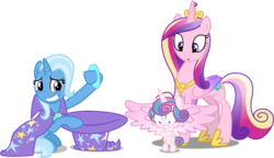 Size: 2103x1214 | Tagged: safe, artist:cheezedoodle96, artist:dashiesparkle, artist:red4567, edit, editor:slayerbvc, princess cadance, princess flurry heart, trixie, alicorn, pony, unicorn, :o, accessory theft, assisted exposure, baby, baby pony, bipedal, blushing, cape, clothes, covering, diaper, embarrassed, embarrassed nude exposure, female, filly, foal, frown, grin, gritted teeth, hat, inconvenient trixie, looking down, magic trick, mare, mother and daughter, naked flurry heart, naked rarity, nervous, nervous grin, nudity, oops, open mouth, out of trixie's hat, simple background, smiling, spread wings, transparent background, trixie's cape, trixie's hat, we don't normally wear clothes, wide eyes, wings