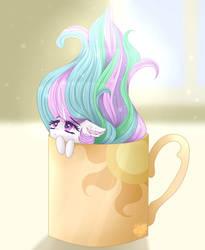 Size: 1600x1950 | Tagged: safe, artist:elektra-gertly, princess celestia, pony, cup, cup of pony, female, food, micro, mug, pun, solo, tea, tiny, tiny ponies
