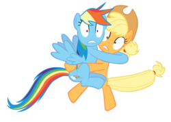 Size: 7000x4980 | Tagged: absurd res, applejack, artist:tardifice, castle mane-ia, hat, hug, pony, rainbow dash, safe, scared, simple background, transparent background, vector