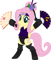 Size: 4442x5167 | Tagged: absurd res, artist:deyrasd, clothes, costume, female, fluttershy, kunoichi, leotard, ninja, paper fan, pegasus, pony, pose, request, requested art, safe, show accurate, simple background, solo, standing, transparent background, vector