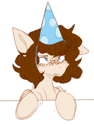 Size: 646x858 | Tagged: alicorn, artist:teapup, birthday, freckles, hat, oc, oc:faerie, oc only, party, party hat, pony, safe, solo, table, unimpressed