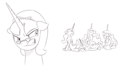 Size: 1280x681 | Tagged: alicorn, alicorn oc, angry, artificial alicorn, artist:brisineo, best friend tabitha, derp, dumb-dumbs, fallout, fallout equestria, fallout: new vegas, heart glasses, hoof in mouth, looking back, monochrome, oc, pony, safe, simple background, singing, tabitha, tongue out, white background