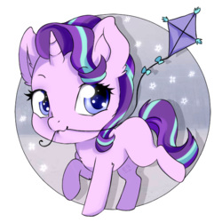 Size: 590x590 | Tagged: artist:tokokami, blank flank, chibi, cute, female, glimmerbetes, kite, looking at you, mare, mouth hold, pony, safe, simple background, solo, starlight glimmer, that pony sure does love kites, transparent background, unicorn