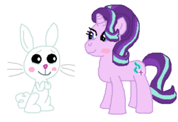 Size: 385x264 | Tagged: angel bunny, artist:drypony198, blushing, female, interspecies, male, safe, shipping, starbunny, starlight glimmer, straight