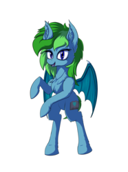 Size: 4677x6299 | Tagged: safe, artist:calena, derpibooru exclusive, oc, oc only, oc:feral fable, bat pony, pony, 2019 community collab, derpibooru community collaboration, absurd resolution, bat pony oc, bipedal, cute, ear fluff, fluffy, looking at you, requested art, solo, transparent background