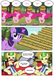 Size: 4959x7017 | Tagged: artist:purplewonderpower, cider, clones, comic, flam, flim, fun fun fun, multeity, pinkie pie, safe, the super speedy cider squeezy 6000, too much pink energy is dangerous, twilight sparkle