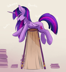 Size: 1600x1745 | Tagged: safe, artist:magnaluna, twilight sparkle, alicorn, pony, adorkable, balancing, book, cute, daaaaaaaaaaaw, dork, ear fluff, eyes closed, female, fluffy, gradient background, happy, hnnng, hoofy-kicks, horn, impossibly large book, laughing, long mane, mare, riding, shoulder fluff, silly, silly pony, smiling, solo, that pony sure does love books, twiabetes, twilight sparkle (alicorn), wiggle, wiggling, wings