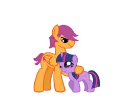 Size: 1024x768 | Tagged: safe, artist:turnaboutart, scootaloo, twilight sparkle, pegasus, pony, adopted offspring, alternate universe, alternate universe of an alternate universe, cutie mark, father and daughter, female, filly, filly twilight sparkle, male, older, role reversal, rule 63, scooteroll, stallion, younger