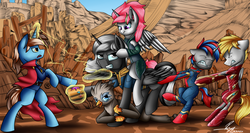 Size: 5000x2669 | Tagged: alicorn, alicorn oc, armor, artist:supermoix, avengers, avengers: infinity war, cape, clothes, commission, doctor strange, drax the destroyer, elements of harmony, group, harmony gauntlet, infinity gauntlet, infinity war, iron man, iron spider, mantis, marvel, marvel comics, oc, oc:astral dream, oc:caution, oc:jade beak, oc only, oc:scout's honor, oc:silent pick, oc:titan, pegasus, pony, safe, spider-man, struggling, thanos