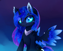 Size: 1600x1295 | Tagged: safe, artist:magnaluna, princess luna, alicorn, pony, body markings, cheek fluff, chest fluff, color porn, colored wings, colored wingtips, curved horn, cute, ear fluff, ethereal mane, eyelashes, female, fluffy, galaxy mane, heart eyes, horn, looking at you, lunabetes, simple background, smiling, solo, spread wings, wingding eyes, wings