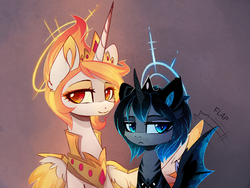 Size: 2067x1554   Tagged: safe, artist:magnaluna, princess celestia, princess luna, alicorn, bat pony, bat pony alicorn, elemental pony, pony, :<, alternate design, alternate hairstyle, alternate universe, armor, bat ponified, bust, colored pupils, denied, duo, ear fluff, ear tufts, eyeshadow, female, flapping, frown, gradient background, halo, hug, lidded eyes, looking at you, luna is not amused, lunabat, makeup, mane of fire, mare, portrait, race swap, royal sisters, simple background, sitting, slit eyes, smiling, spread wings, unamused, wing fluff, wing hands, wing jewelry, winghug, wings
