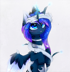 Size: 2299x2384   Tagged: safe, artist:magnaluna, princess luna, oc, oc:zefiroth, alicorn, dragon, pony, canon x oc, cheek fluff, chest fluff, collar, colored pupils, crown, curved horn, cute, ear fluff, ethereal mane, feather, female, fluffy, galaxy mane, glowing horn, horn, jewelry, leg fluff, looking up, lunabetes, magic, mare, neck fluff, ocbetes, open mouth, raised hoof, regalia, shipping, simple background, smiling, upside down, white background, wing fluff