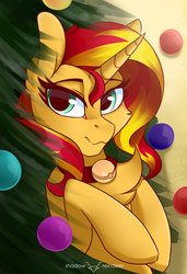 Size: 1772x2598 | Tagged: safe, artist:php97, sunset shimmer, pony, unicorn, bell, bell collar, cat bell, chest fluff, christmas, christmas tree, collar, female, holiday, lidded eyes, looking at you, mare, smiling, solo, tree