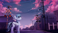 Size: 3840x2160 | Tagged: arm band, artist:inowiseei, city, cloud, commission, crescent moon, ear fluff, fence, house, japan, japanese, lamppost, looking up, mirror, moon, oc, oc only, pegasus, pony, railroad crossing, safe, sky, solo, stars, streetlight, telephone pole, twilight (astronomy)