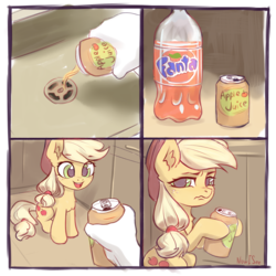 Size: 2160x2160 | Tagged: safe, artist:inowiseei, applejack, earth pony, human, pony, annoyed, apple juice, applejack is not amused, applejack's hat, betrayal, bottle, chest fluff, comic, cowboy hat, cruel, cute, dishonorapple, ear fluff, eye clipping through hair, eyes on the prize, fanta, female, fluffy, freckles, frown, glare, hair tie, hand, happy, hat, high res, hoof hold, indoors, jackabetes, juice, kitchen, looking at you, mare, meme, moral event horizon, offscreen character, open mouth, ponified meme, ponytail, pov, prank, pure unfiltered evil, sad, sink, sitting, smiling, soda, solo focus, stetson, subverted meme, this will end in death, this will end in pain, this will end in tears, this will end in tears and/or death, this will not end well, treason, trick, trickery, unamused, unhapplejack, wall of tags, wavy mouth, you monster