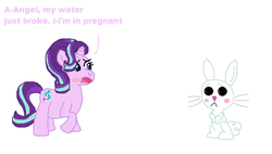 Size: 654x372 | Tagged: safe, artist:drypony198, angel bunny, starlight glimmer, blushing, female, interspecies, male, pregnant, shipping, starbunny, straight