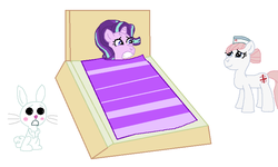 Size: 816x490 | Tagged: safe, artist:drypony198, angel bunny, nurse redheart, starlight glimmer, blanket, blushing, female, interspecies, male, shipping, starbunny, straight