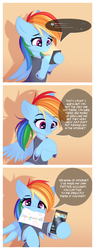Size: 1690x4452 | Tagged: safe, artist:omi, rainbow dash, pegasus, pony, :3, :o, ask, cheek fluff, clothes, comic, cute, dashabetes, dexterous hooves, ear fluff, female, floppy ears, fluffy, head tilt, heart, hoof fluff, hoof hold, leg fluff, looking at you, mare, meta, mouth hold, no hooves, nom, open mouth, phone, shirt, smiling, solo, spread wings, t-shirt, text, twitter, wing fluff, wings
